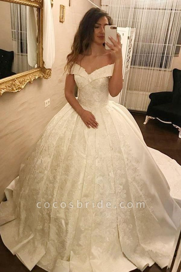 Ivory Ball Gown Off-the-Shoulder Pleated Satin Lace Appliques Wedding Dress
