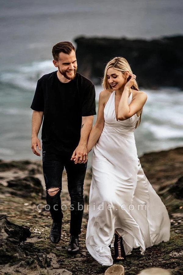 A Line Halter Ivory V Neck Beach Sexy Sleeveless Boho Wedding Dress