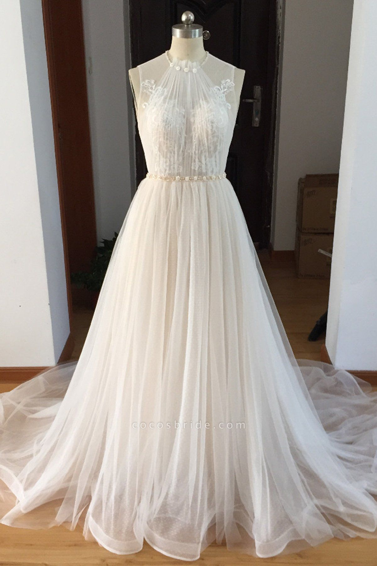 White Tulle Beaded Long Beaded Lace Wedding Dress