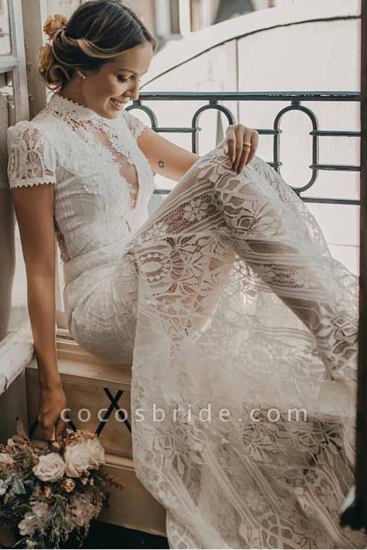 Vintage High Neck Lace Short Sleeve Wedding Dress
