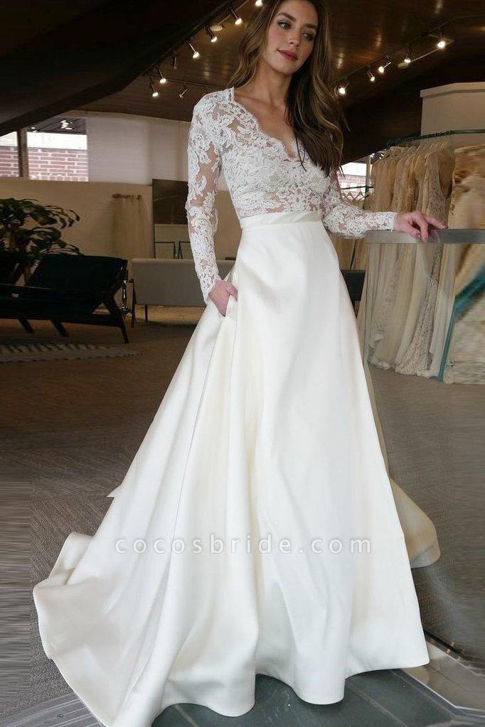 V Neck Long Sleeves Ruffles Wedding Dresses