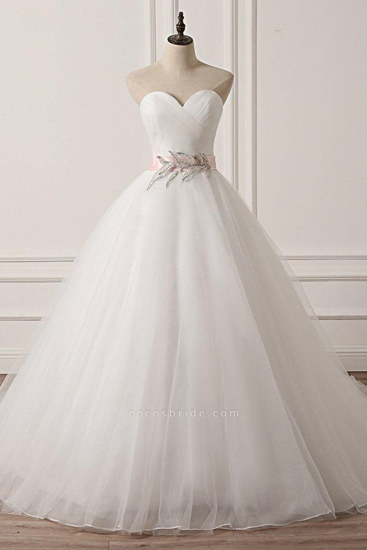 White Tulle Backless Long Beaded Applique Long Wedding Dress
