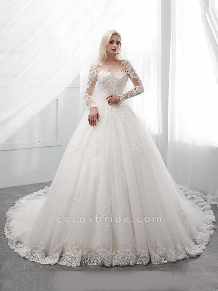 Long Sleeves Lace Ball Gown Wedding Dresses