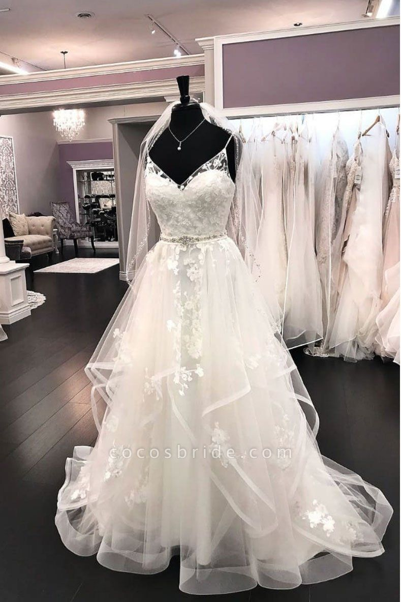 Elegant White Tulle Lace V Neck Spaghetti Straps A Line Wedding Dress