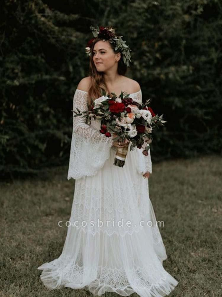 Long Sleeve Floor-Length Lace Boho Chic Wedding Dresses