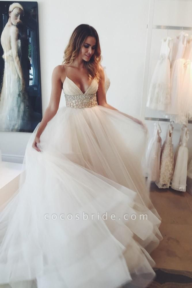 Sexy A-line V-neck Spaghetti Straps Ivory Tulle Ball Gowns Wedding Dress