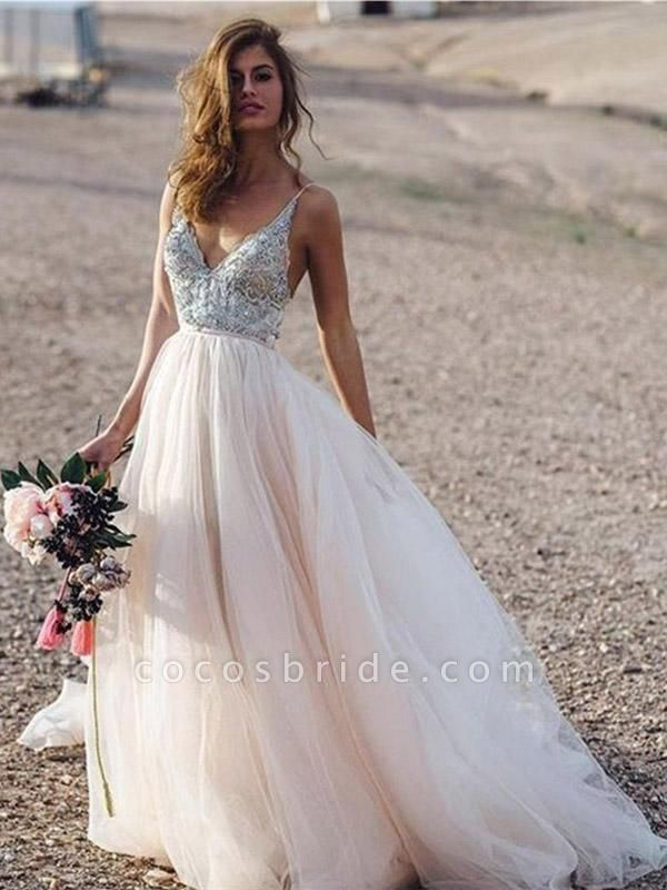 Spaghetti Straps Lace Tulle A-line Boho Wedding Dresses