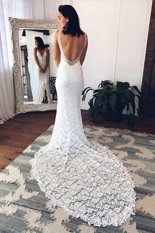 V-Neck Court Train Split Backless Lace Mermaid Wedding Dress