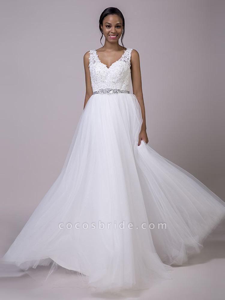 Fancy V-Neck Lace Up Sleeveless A Line Wedding Dresses