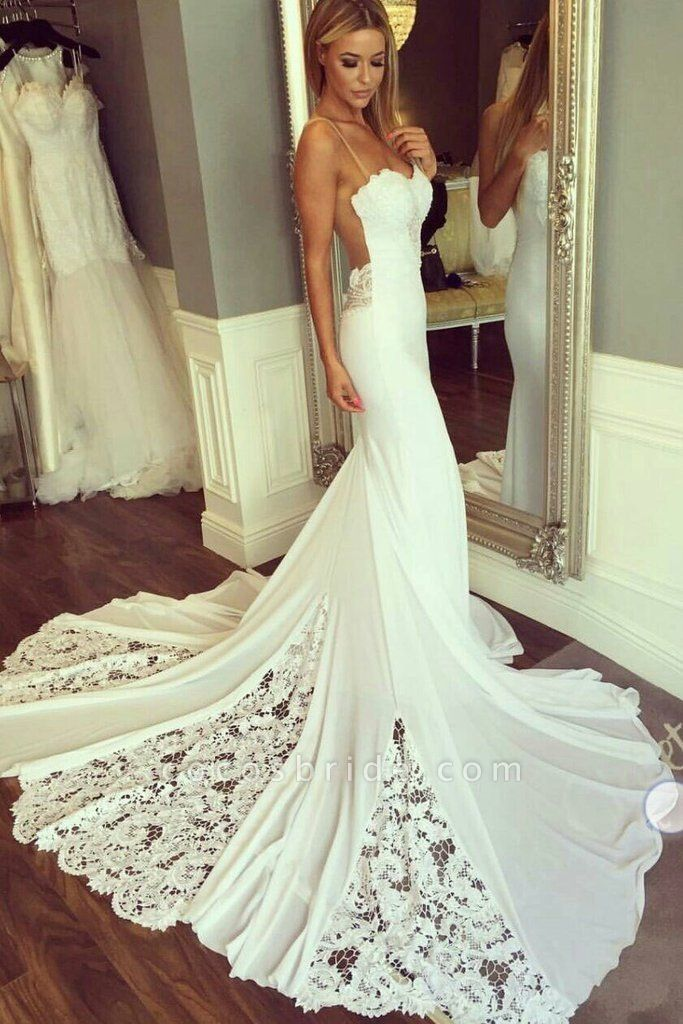 Mermaid Sexy Sheer Neck with Lace Unique Ivory Wedding Dress