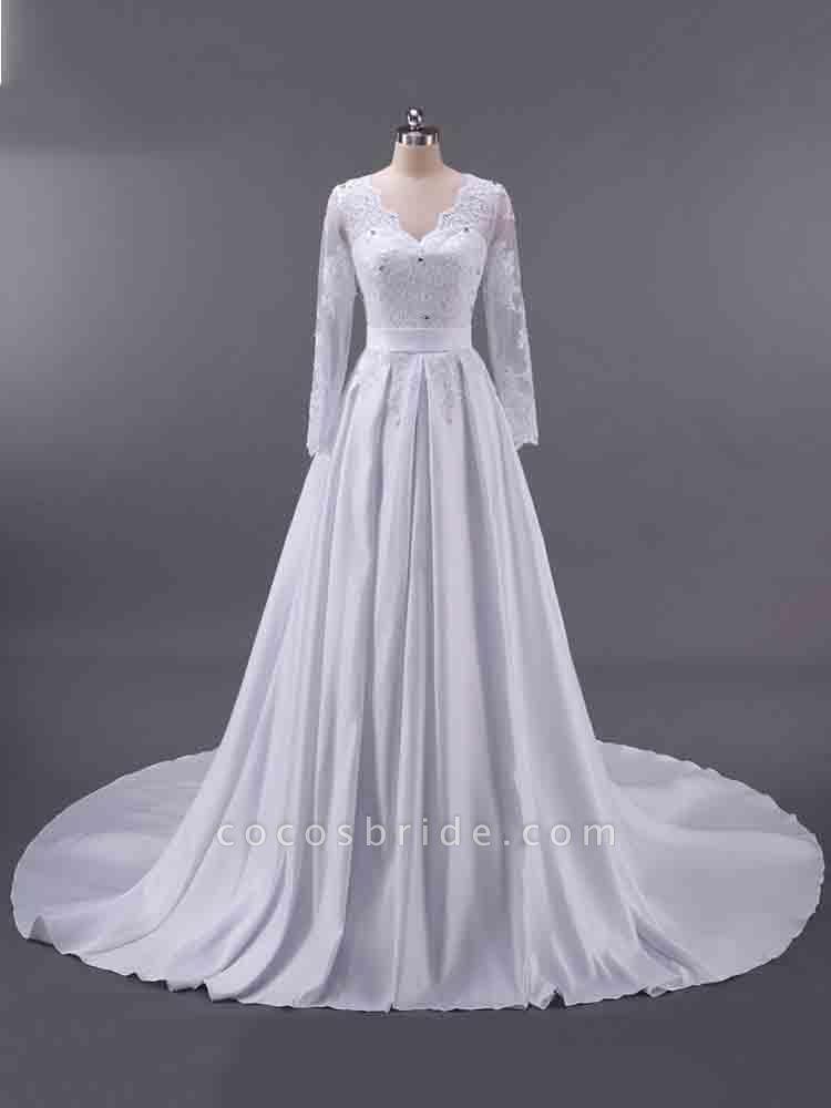 Elegant V-Neck Long Sleeves Lace Ruffles Wedding Dresses