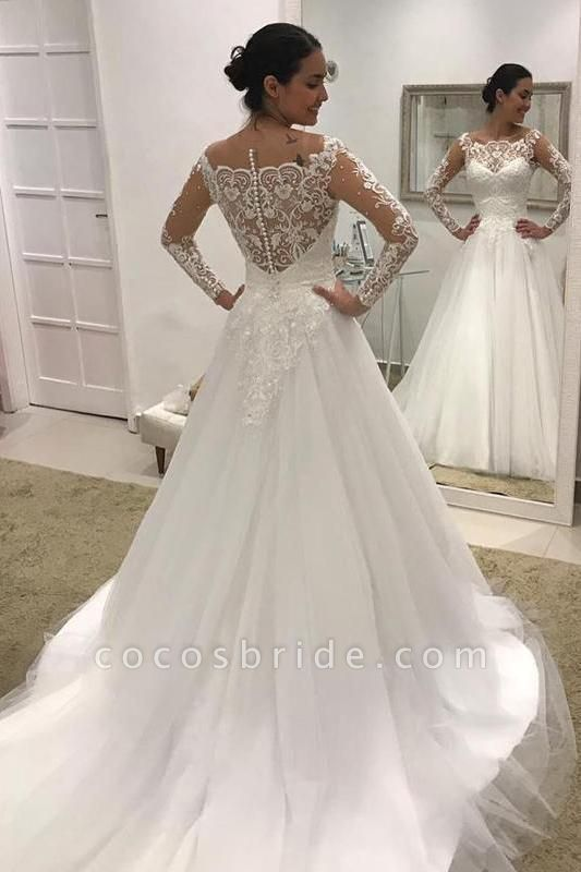 Puffy Long Sleeves Gorgeous Tulle Beads Wedding Dress