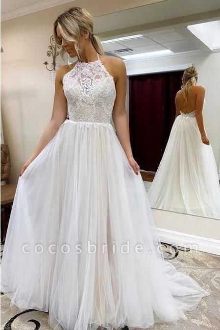 A Line Halter Tulle Lace Backless Beach Wedding Dres
