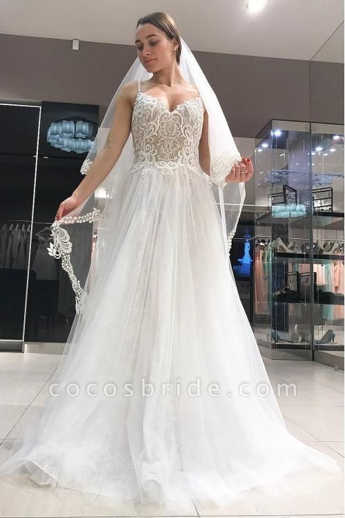 Spaghetti Strap Long Tulle with Lace Simple Backless Beach Wedding Dress