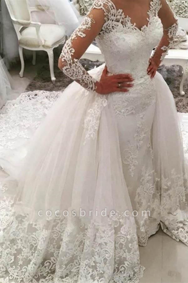 Gorgeous Ivory V-Neck Long Sleeves Appliques Watteau Train Wedding Dress