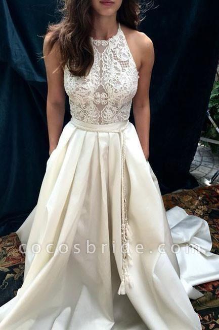 Ivory A-line Halter Lace Satin with Sweep Train Sleeveless Beach Wedding Dress