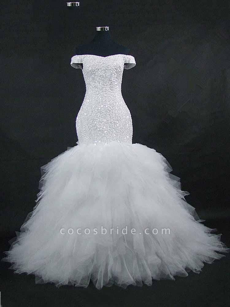 New Off the Shoulder Sequins Lace-up Mermaid Wedding Dresses