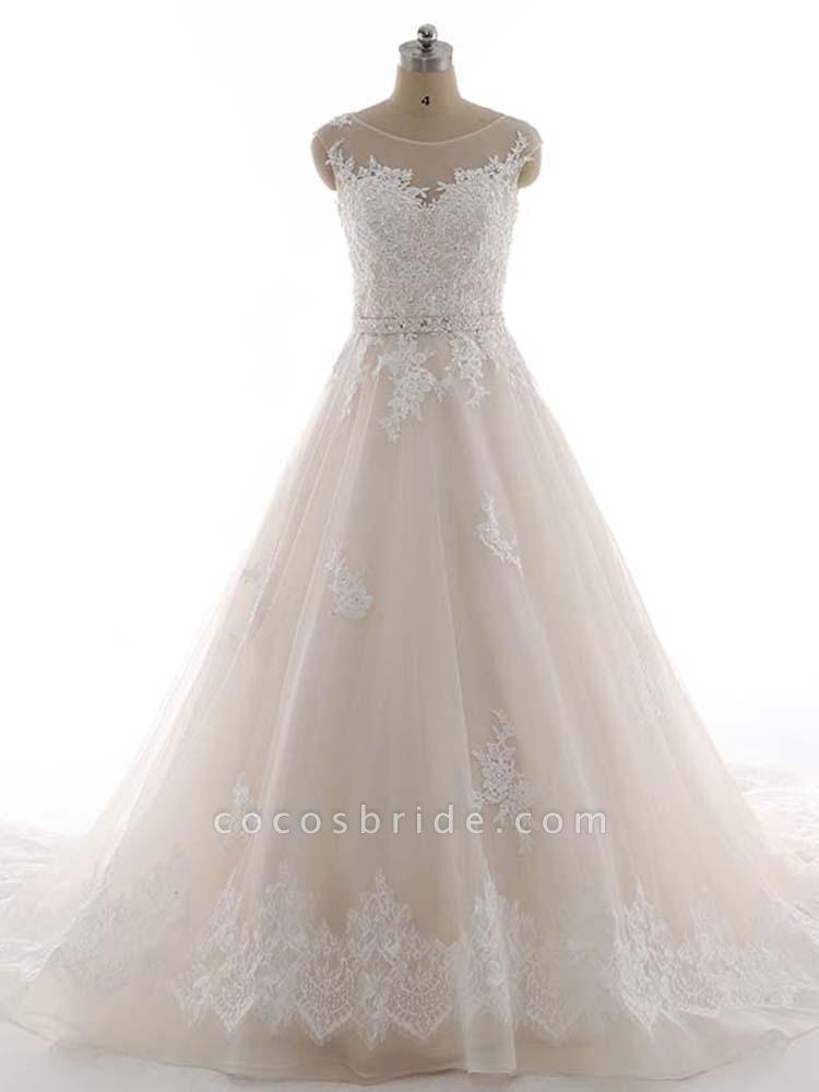 Elegant Bateau Lace Appliques Ribbon Wedding Dresses
