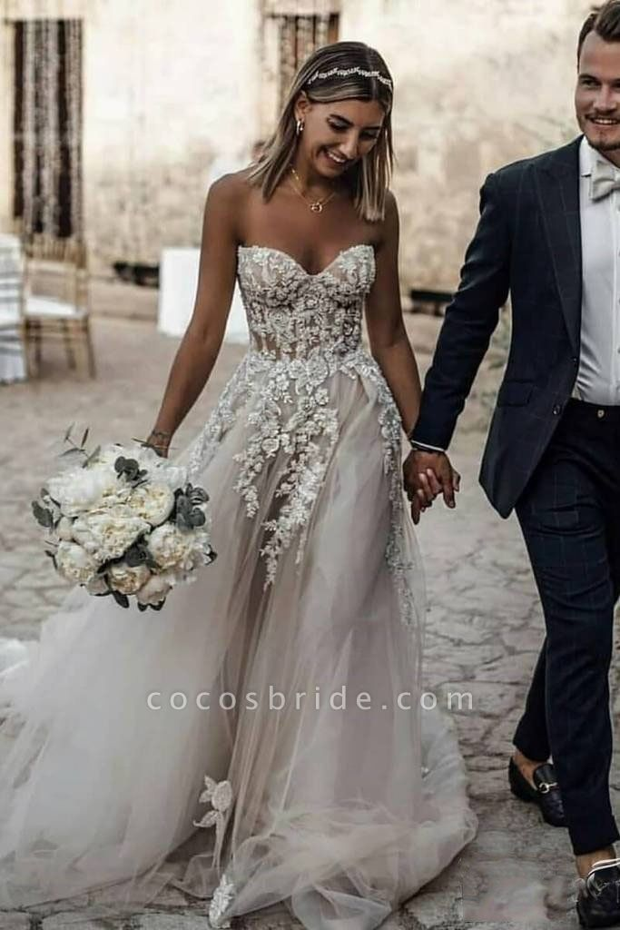 Boho Sweetheart Tulle Long Beach Charming Appliques Wedding Dress