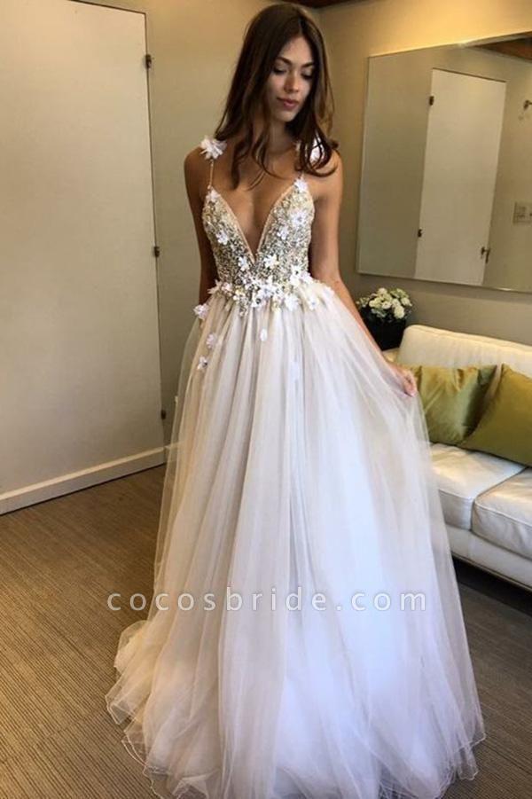 Deep V-neck Beading Straps Tulle Appliques A-line Custom Beach Wedding Dress