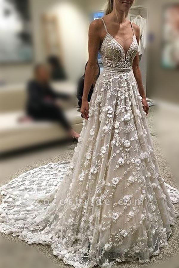 Stunning Deep V Neck Spaghetti Straps Lace Backless Court Train Wedding Dress