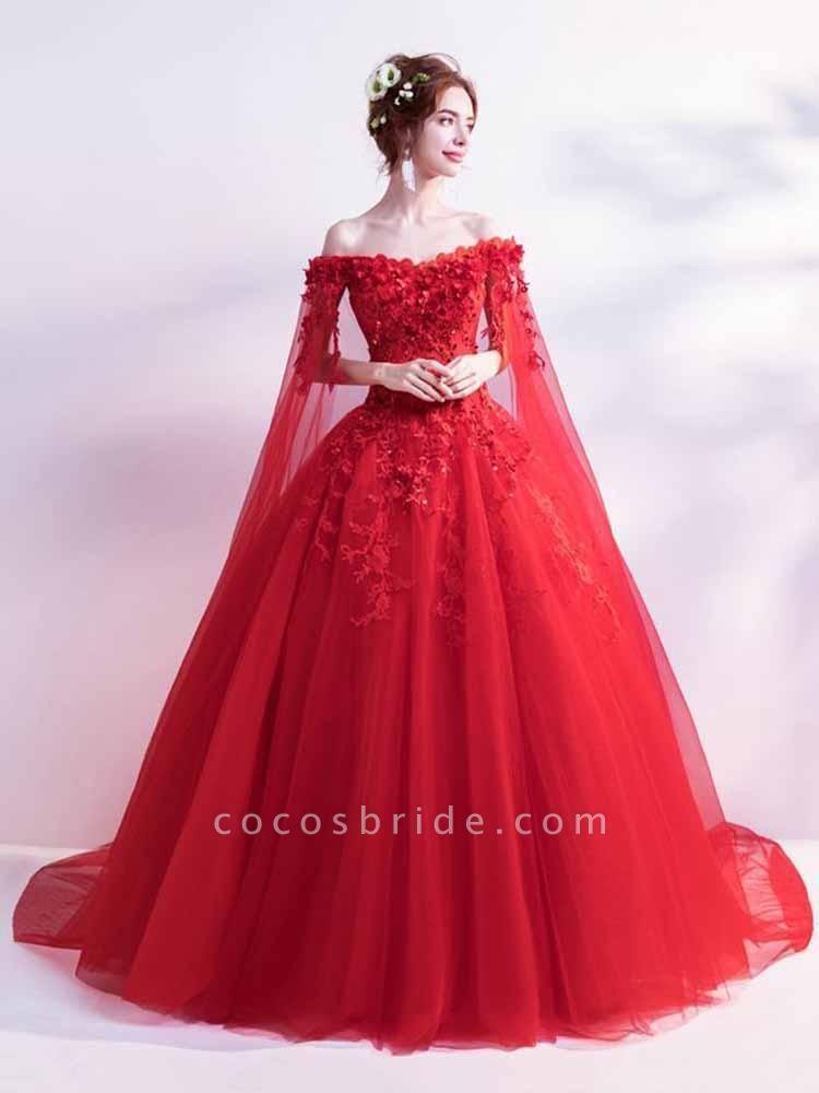 Off-the-Shoulder Lace Applique Wedding Dresses