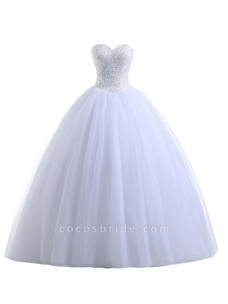 Glamorous Sweetheart Beaded Ball Gown Tulle Wedding Dresses