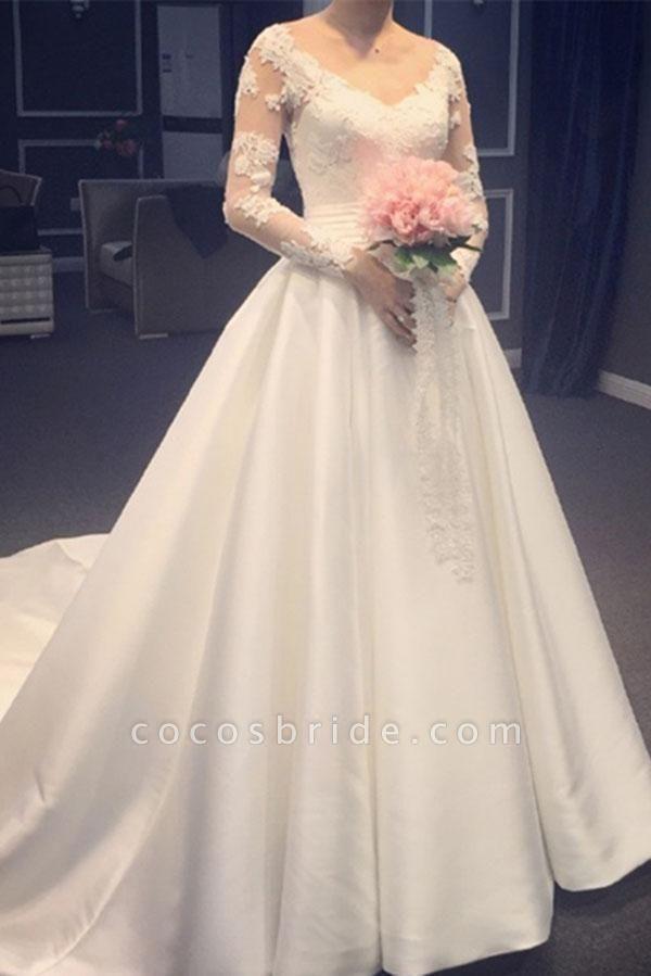 Elegant A Line V-Neck Appliques Long Sleeves Wedding Dress