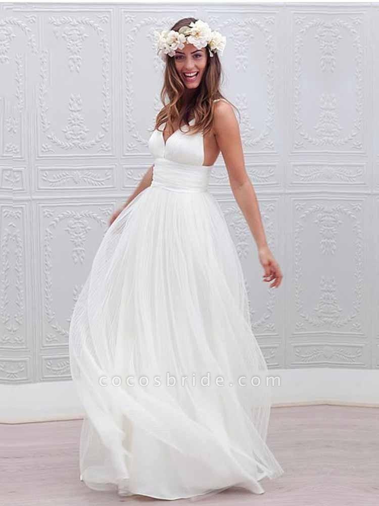 Elegant Spaghetti Straps V-Neck Tulle Wedding Dresses