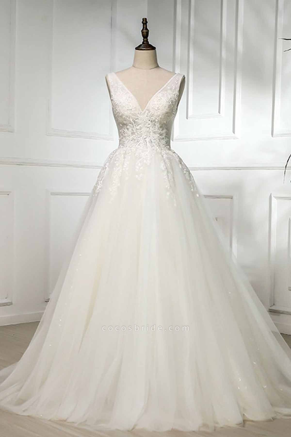 V Neck Long Lace White Lace Sweep Train Wedding Dress