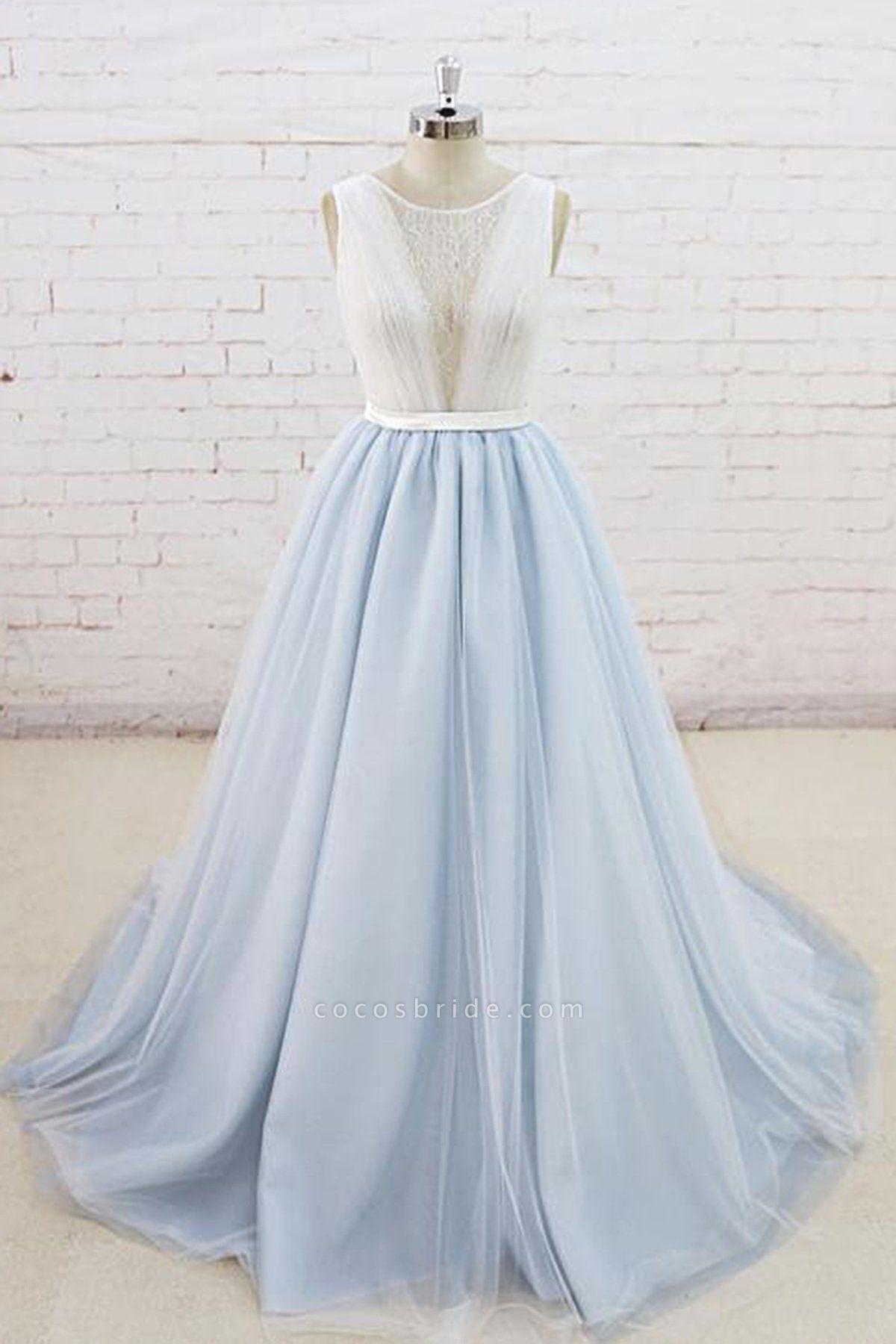 Light Blue Tulle Sheer Back Summer Lace Wedding Dress