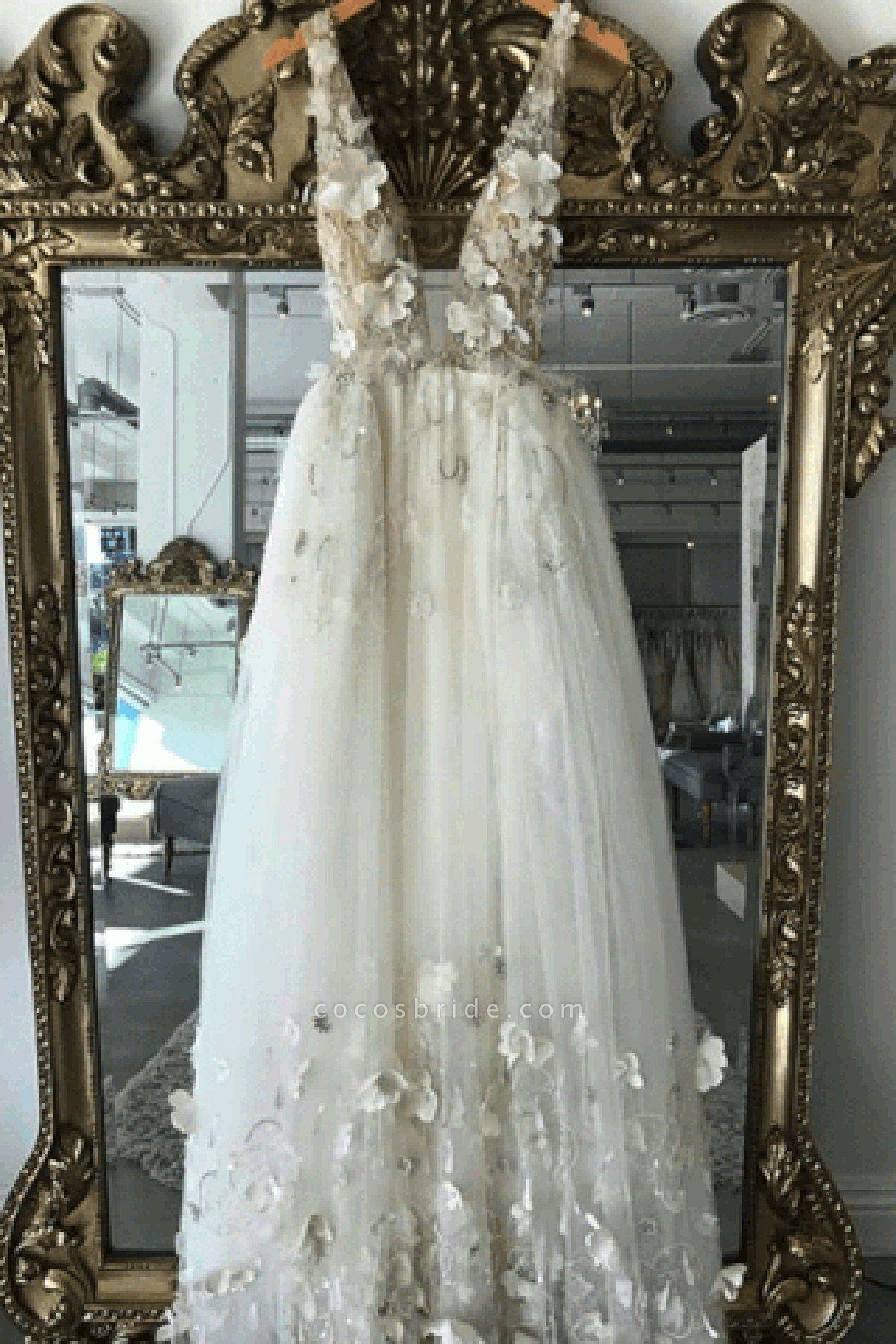 Simple Ivory 3D Flower Lace V Neck Open Back Long Wedding Dress