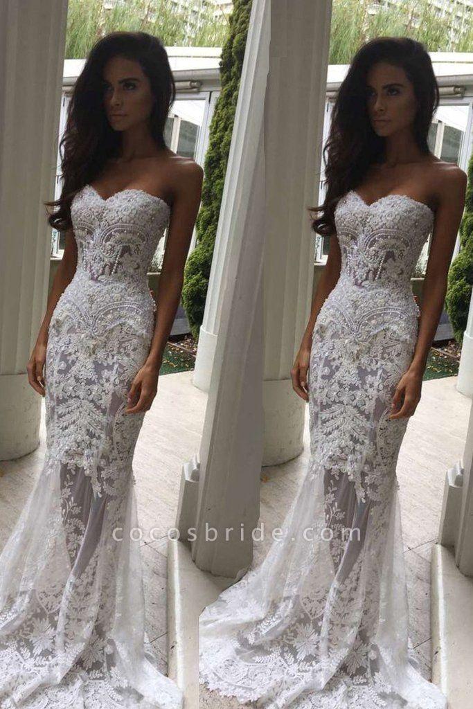 Mermaid Sweetheart Long Lace Strapless Sweep Train Wedding Dress