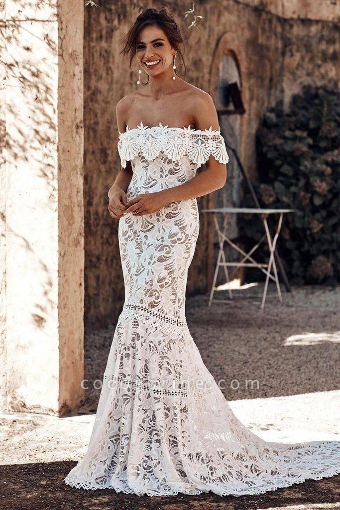 Charming Off the Shoulder Lace Boho Beach Wedding Dress