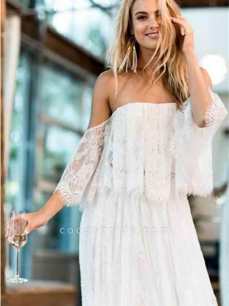 Casual Lace Beach Flowy A-Line Wedding Dresses
