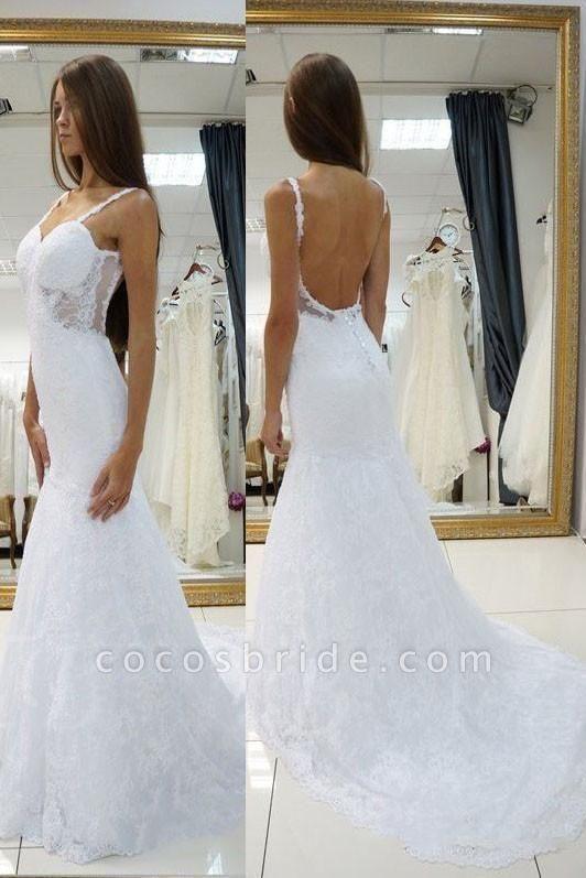 White Straps Open Back Lace Sexy Sweetheart Customized Wedding Dress