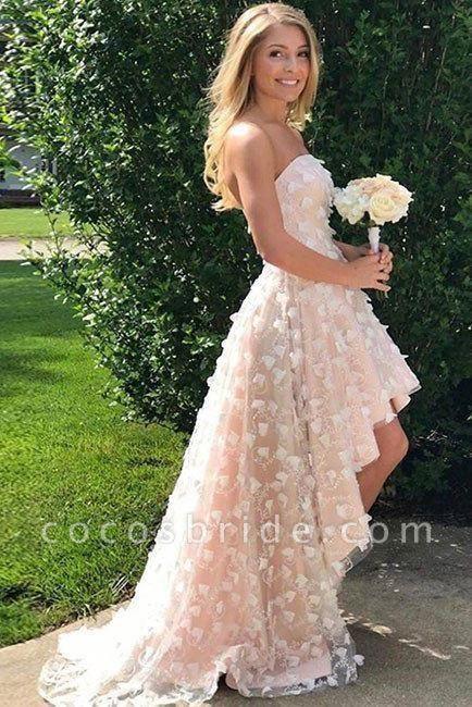 Strapless homecoming dress Cute Beach Wedding High-low Dress