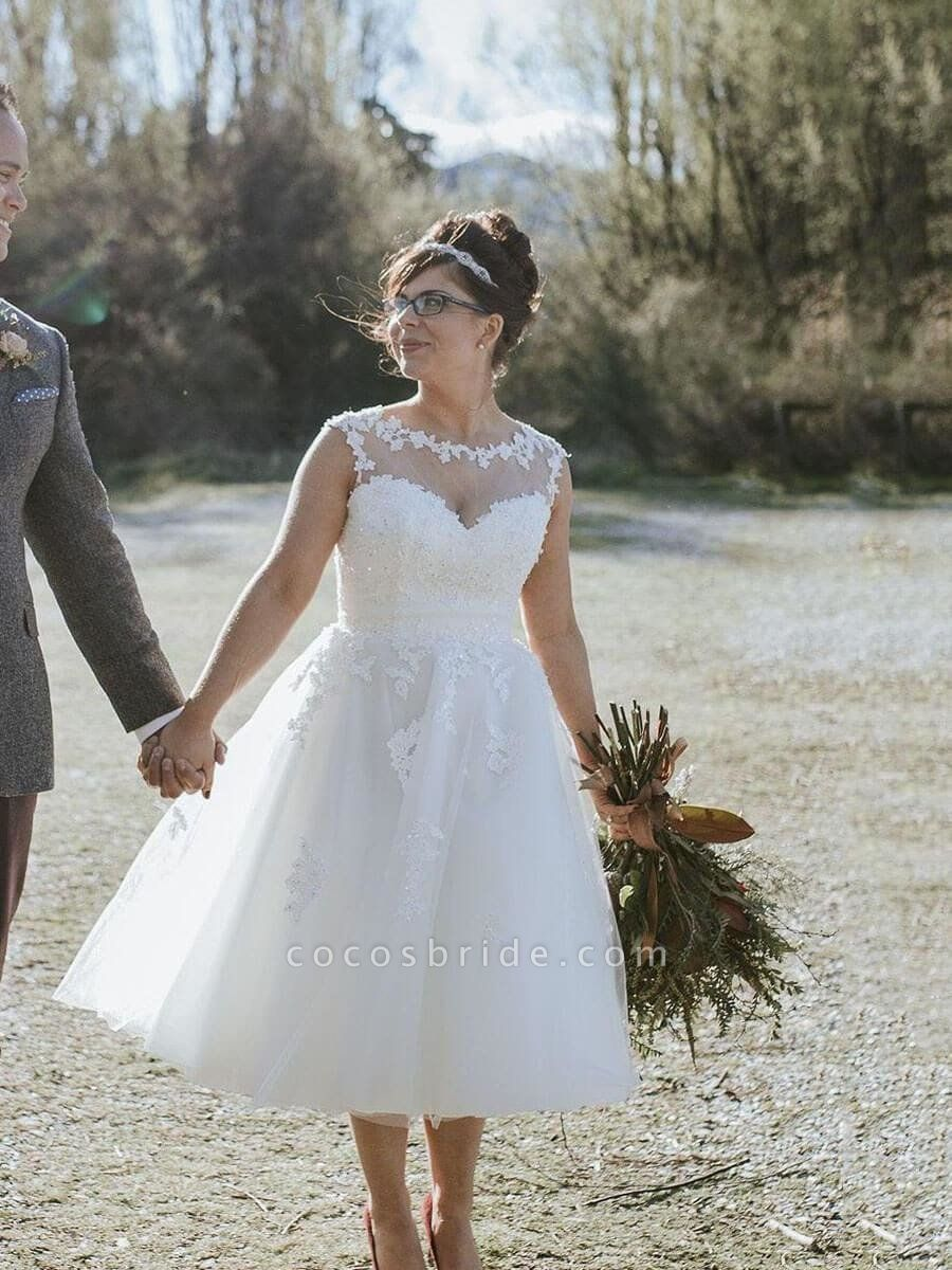 Illusion Lace Short Wedding Dresses Tea Length Wedding Dresses
