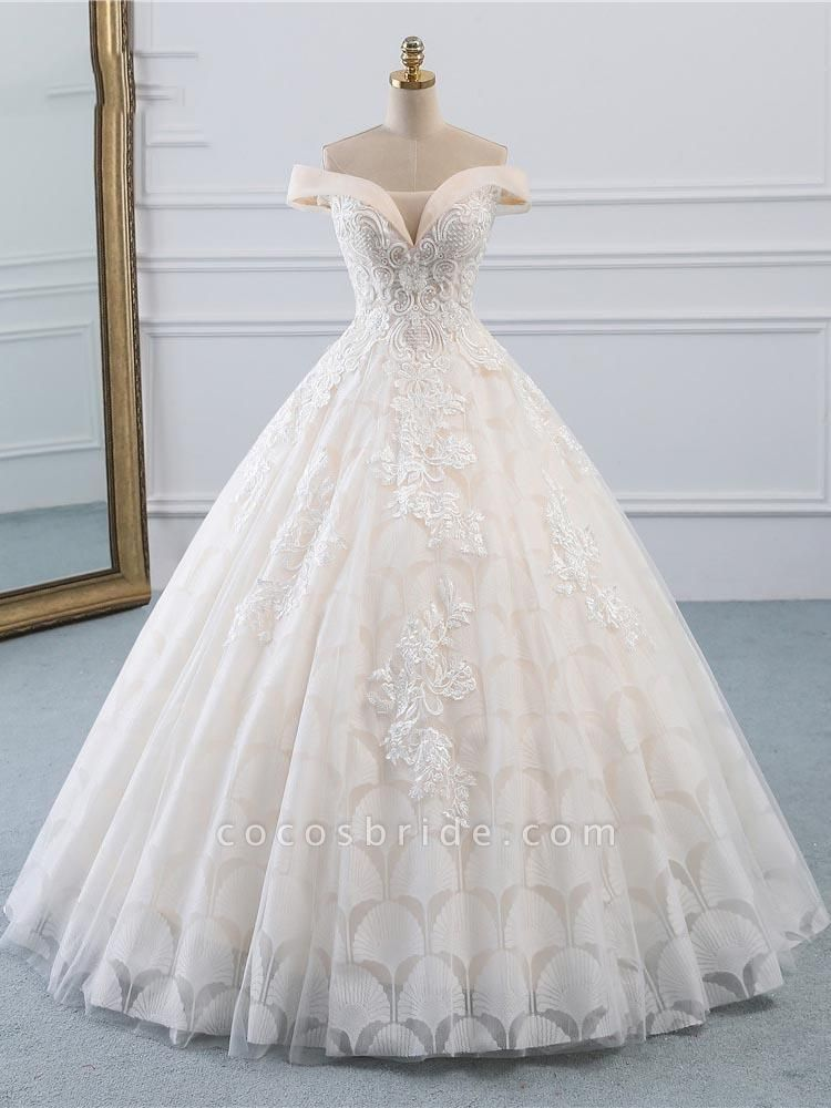 Popular Off-the-Shoulder Lace-Up Ball Gown Wedding Dresses