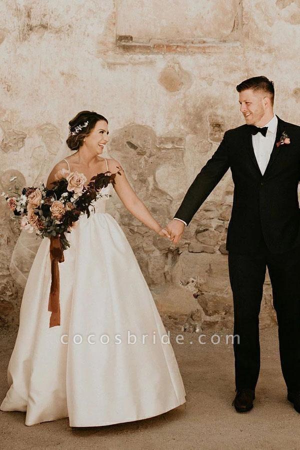 Simple Ivory Sleeveless Beach Floor Length Satin Spaghetti Straps Wedding Dress