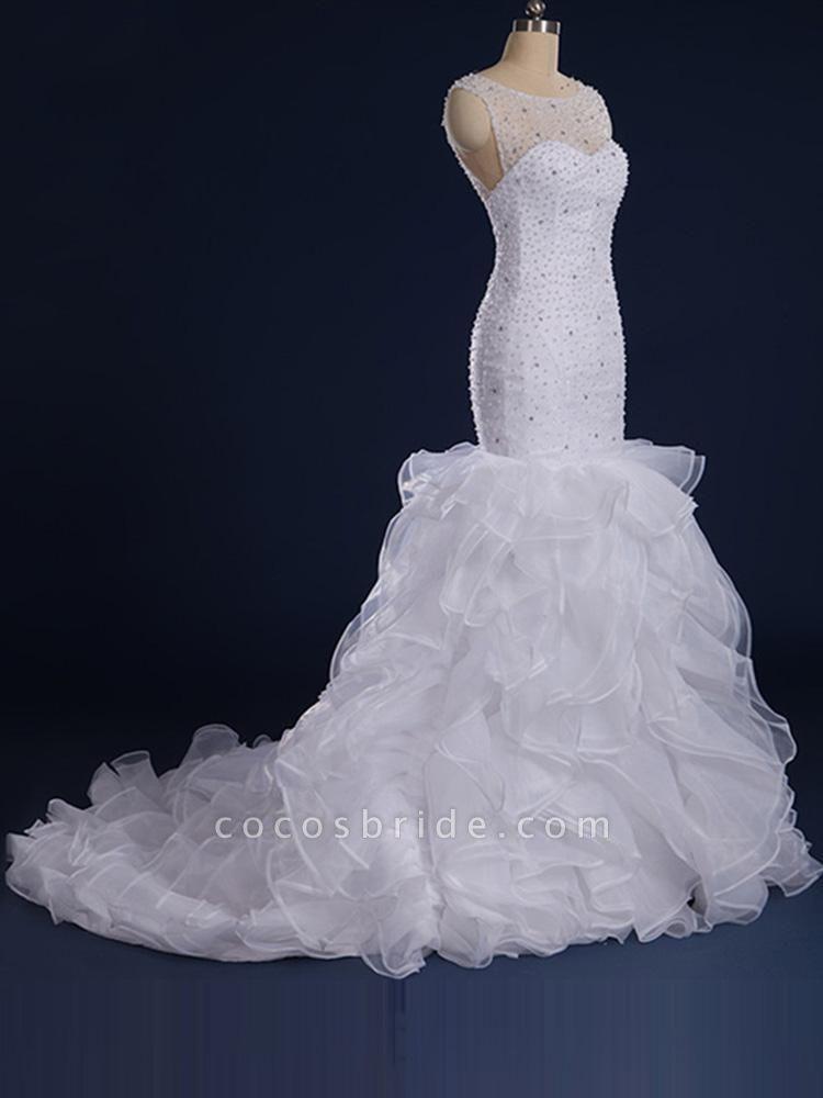Gorgeous Sleeveless Covered Button Mermaid Wedding Dresses