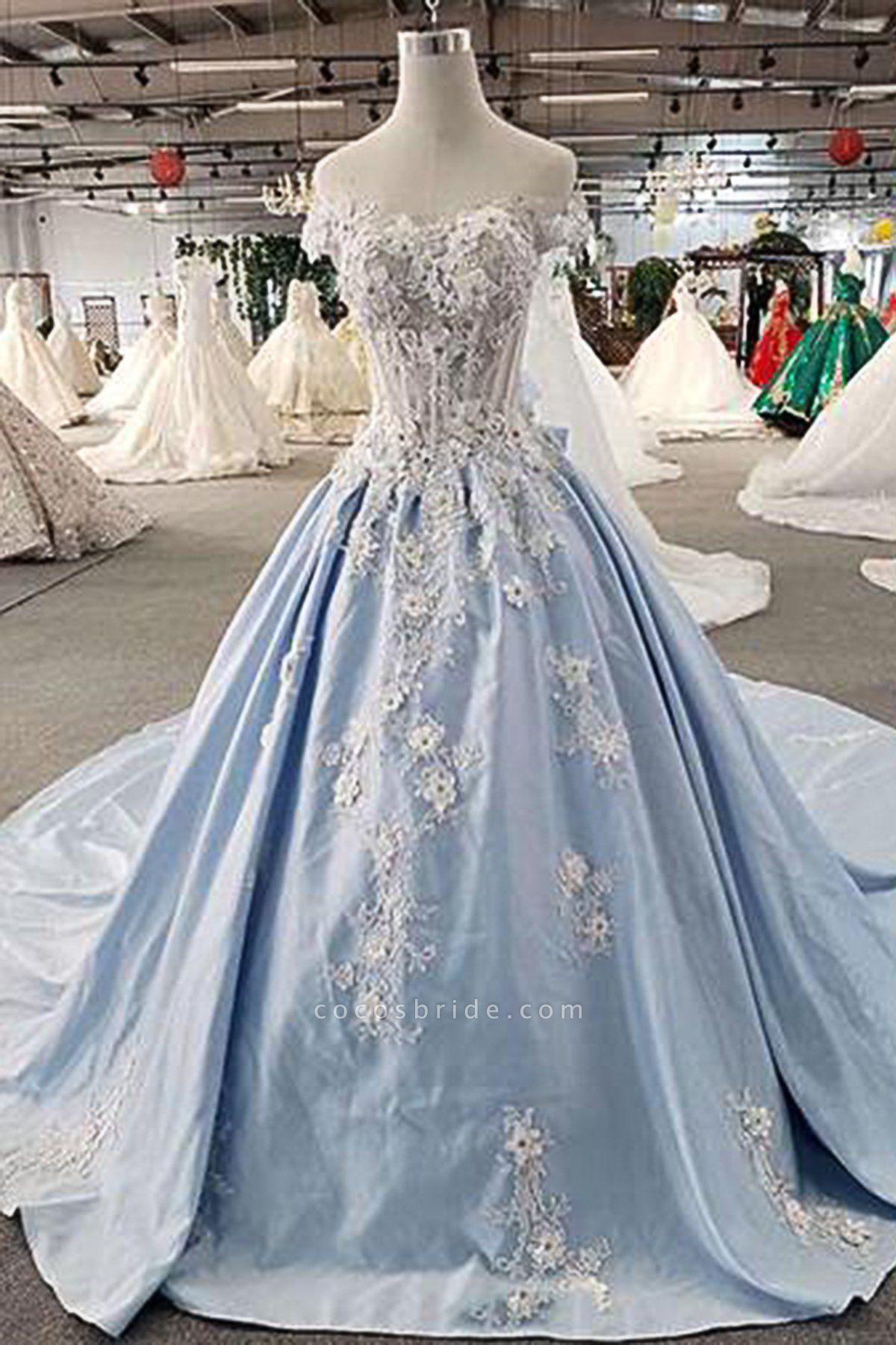 Light Blue Satin Off Shoulder Sweep Train Wedding Dress