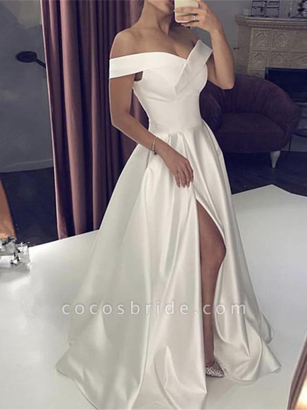Off-the-Shoulder Backless A-Line Wedding Dresses