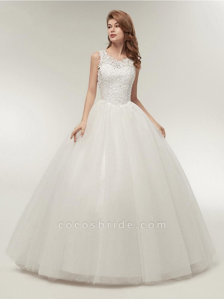Glamorous Appliques Lace Up Ball Gown Wedding Dresses