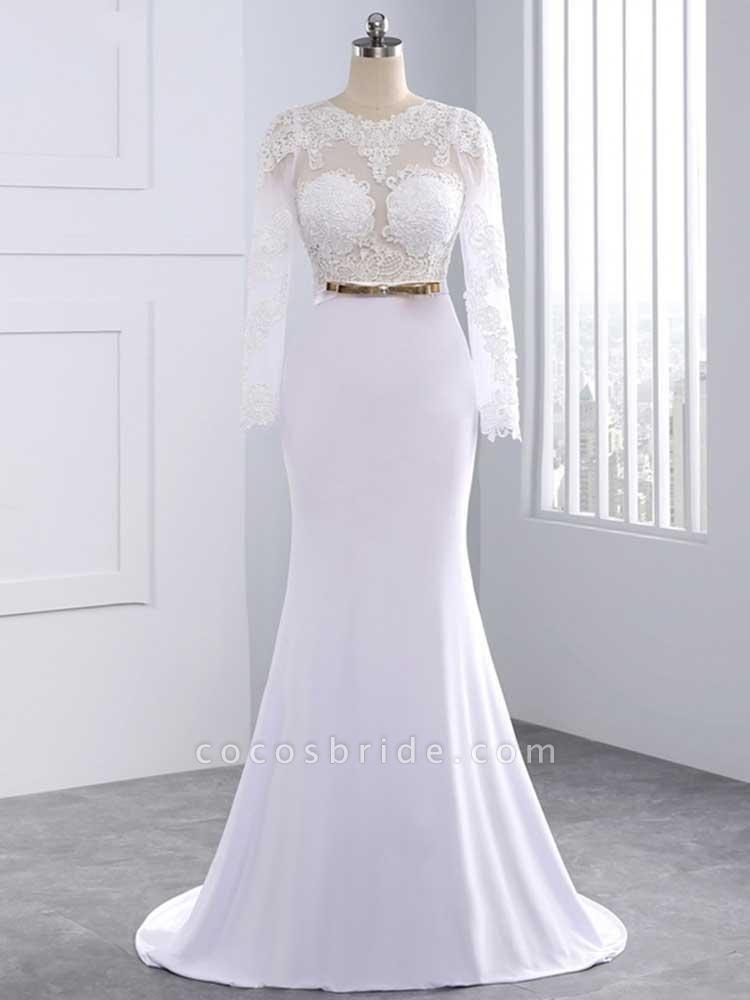 Elegant Long Sleeves Lace Mermaid Sashes Wedding Dresses