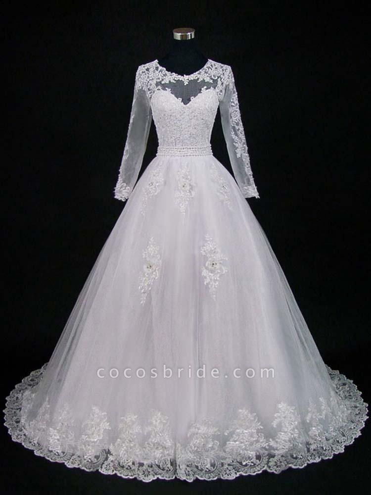 Lace Appliques Pearls Long Sleeves Wedding Dresses