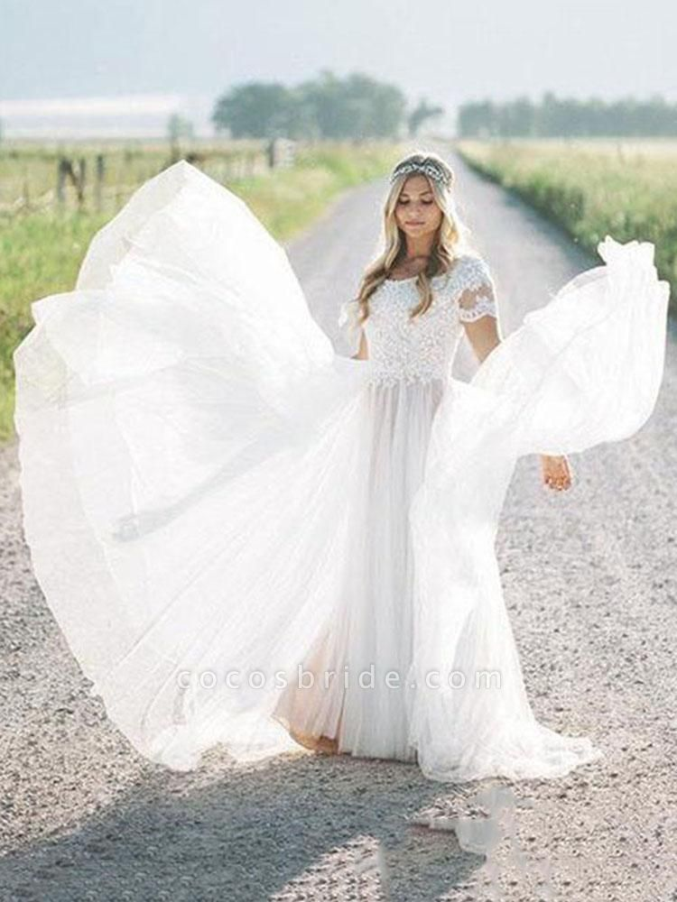 Elegant Short Sleeves Lace Tulle Wedding Dresses