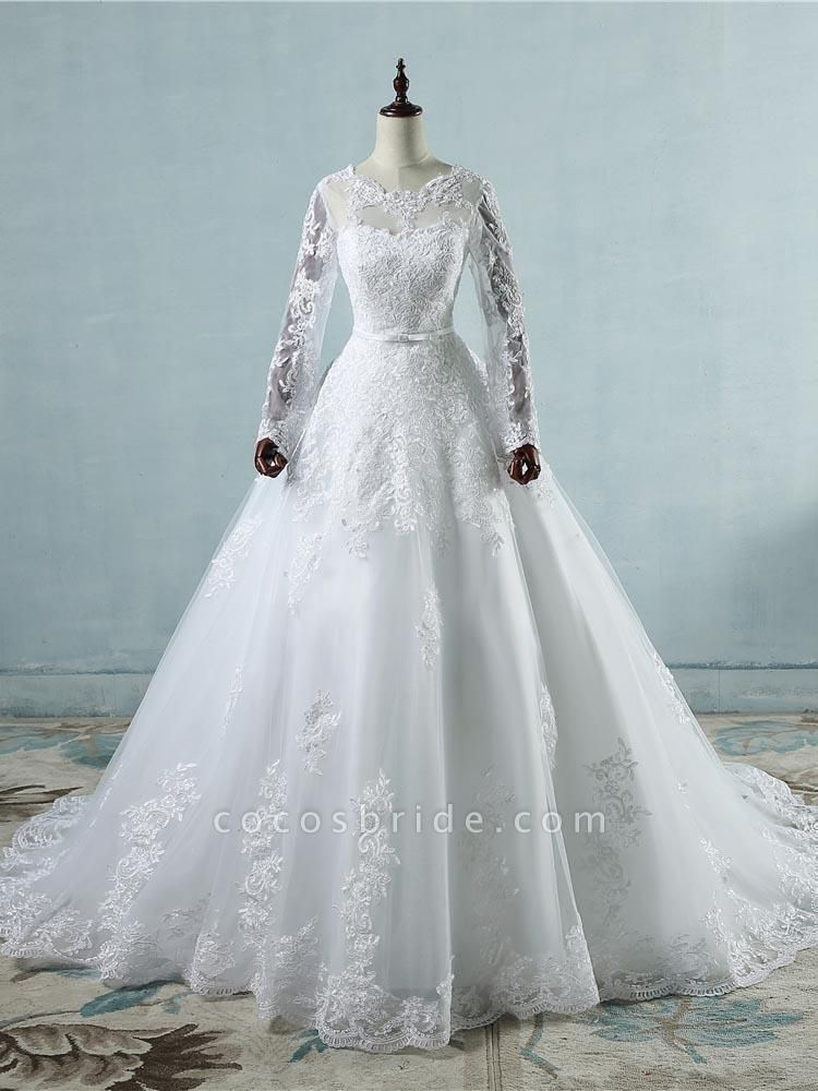 Elegant Long Sleeves Corset lace up Wedding Dresses