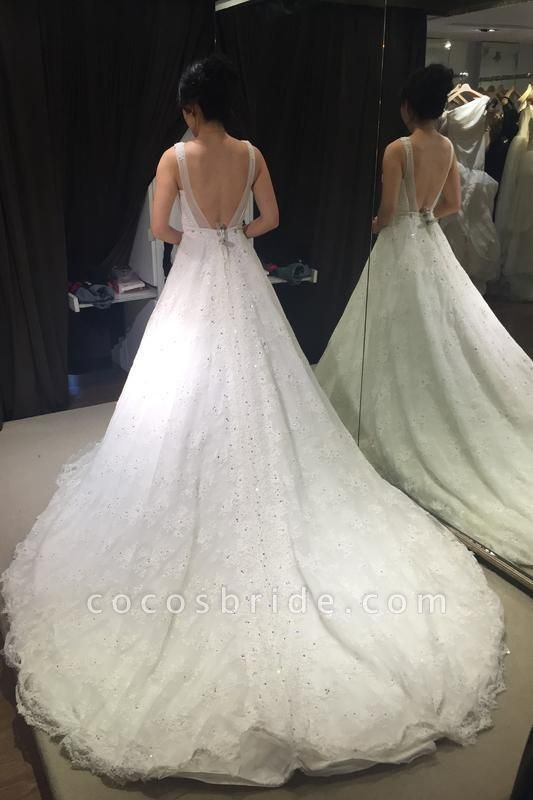 Princess V-neck Sleeveless Backless Court Train Lace Sexy Wedding Dress