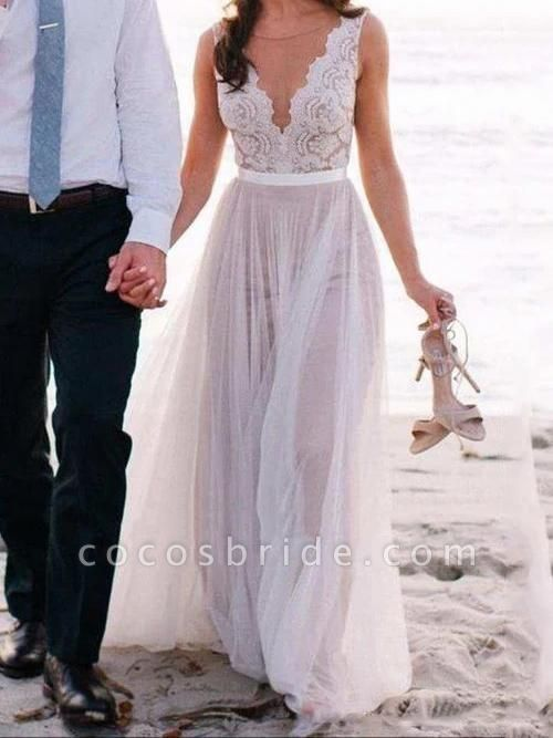 V Neck A-Line Long Tulle Wedding Dresses With Lace Top